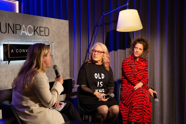 Moderator Charlotte Japp speaks with panelists Suzanne Noble (L) and Esme Ward (R) at the European launch of AC Unpacked: A Conversation