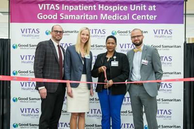 Good Samaritan's Chief Nursing Officer Joseph Lopez-Cepero and CEO Tara McCoy with VITAS General Manager Diana Smith and Vice President of Operations Mark Hayes