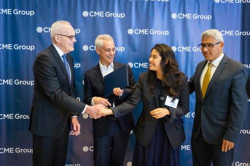 (L-R) CME Group President Bryan Durkin; City of Chicago Mayor Rahm Emanuel; Chicago Star Scholar Christina Lopez; City Colleges of Chicago Chancellor Juan Salgado