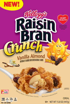 This summer the cereal aisle will get a bit sunnier with the addition of new Kellogg's Raisin Bran Crunch® Vanilla Almond. The new cereal has even more deliciousness with the addition of almond slices and a hint of vanilla flavor to the crispy bran flakes, raisins and crunchy clusters fans love.