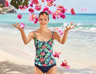Lands' End Deep Sea Tropical Floral Tankini