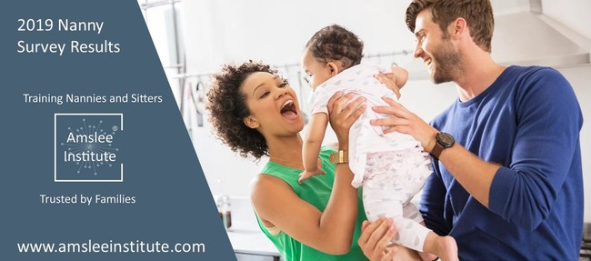 Family with newborn being passed from man to woman as image of 2019 Nanny Survey Results
