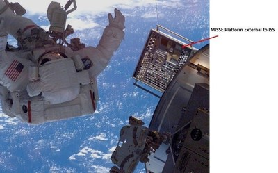 Figure B: MISSE platform attached to the robotic arm external to ISS (courtesy: NASA Langley Research Center website, https://misse1.larc.nasa.gov/)