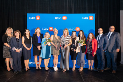 Bernadette Smith, MLA, Point Douglas; Kristen Kennedy, BMO Financial Group; Leah Weatherill, BMO Financial Group; Tafaline Wall, BMO Financial Group; Margaret Von Lau; Carmyn Aleshka – Community & Charitable Giving Honourees; Ruth Loeppky – Expansion & Growth in Business Honouree; Tara Maltman-Just – Trailblazers & Innovators Honouree; Giovanna Minenna; Anne Fountain, BMO Financial Group; Anthony Moros, BMO Financial Group; Travis Kirton, BMO Financial Group. (CNW Group/BMO Financial Group)
