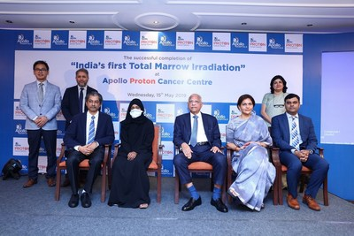 (From Left to Right) Dr. Dayananda Shamurailatpam, Head Department of Medical Physics, Apollo Hospitals, Dr. Rakesh Jalali,Medical Director and Head - Radiation Oncology , Apollo Proton Cancer Centre, Dr . Jose M Easow, Consultant Medical Oncology and Hematology In - charge of BMT Unit, Apollo Cancer Speciality Hospital, Patient Ms.Fatima (35) Oman, Dr . Prathap C Reddy,Executive Chairman, Apollo Hospitals Group, Dr. Preetha Reddy, Vice Chairperson, Apollo Hospitals Group,   Dr. Srinivas Chilukuri – Senior Consultant Radiation Oncology, Dr . Sapna Nangia, Senior Consultant, Radiation Oncology at Apollo Proton Cancer Centre, Chennai
