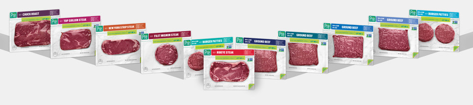 Pre's non-GMO certified beef is grass fed and finished, pasture raised, with no added hormones or antibiotics, and is available in steak, ground, and roast formats. Pre is available nationally in retail and online.