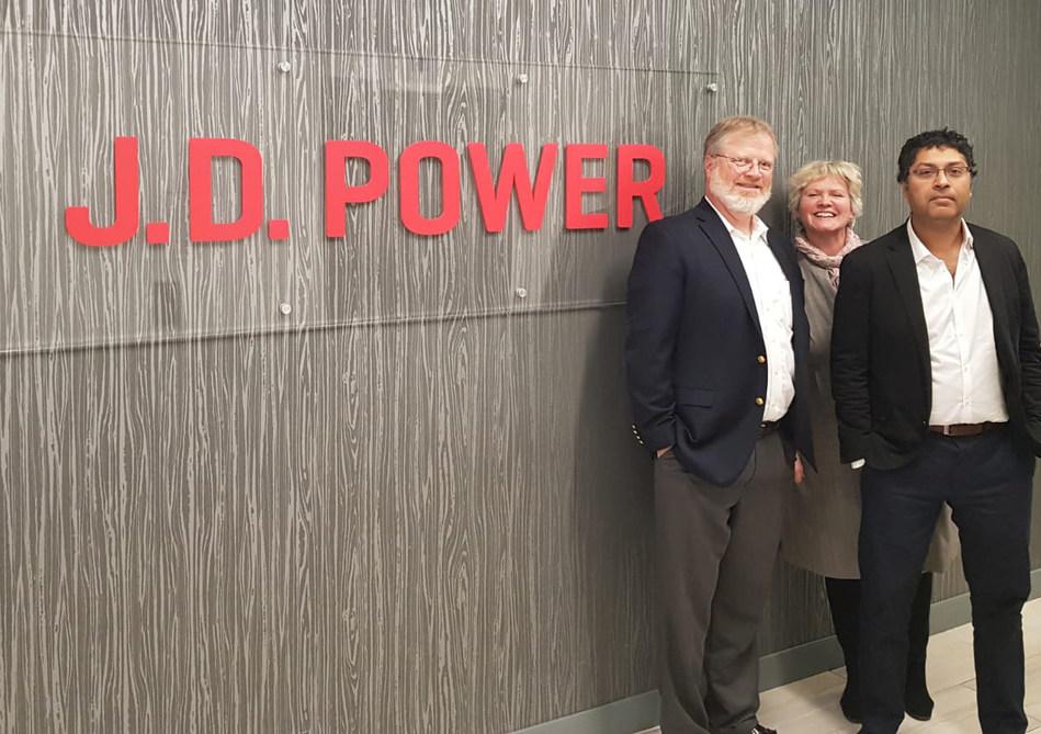 Reevoo staff at J.D. Power headquarters (left to right): Marco Franca, VP - Americas; Lisa Ashworth, CEO; Asitha Rodrigo, CTO