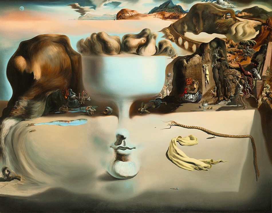Salvador Dalí. Apparition of Face and Fruit Dish on a Beach, 1938. Oil on canvas, 45 x 56 5/8 in. The Wadsworth Atheneum Museum of Art: The Ella Gallup Sumner and Mary Catlin Sumner Collection Fund, 1938.269. © 2019 Salvador Dalí, Fundació Gala-Salvador Dalí / Artists Rights Society (ARS), New York