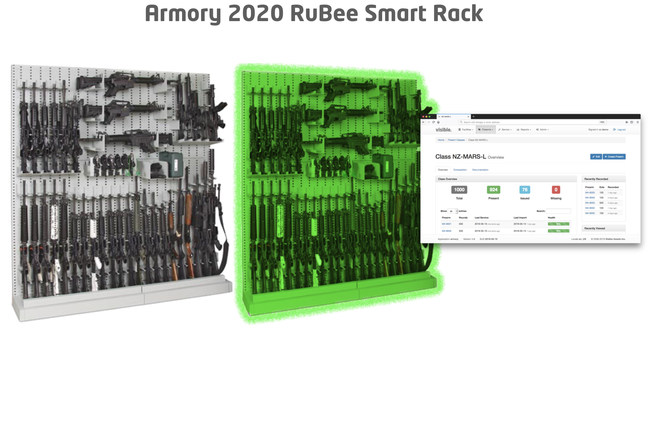 Armory 20/20: Visible Assets Weapon Shot Counter tag provides wireless human-assisted audits with a handheld reader. With the addition of RuBee Smart Racks, Armory 20/20 performs automated audits with no human assistance. The audits can be programmed to take place many times each day. Armory 20/20 includes integrated Issuance Stations and DoorGuard exit/entry detection with 99.9% covert detectability. Armory 20/20 has proven 100% automated read accuracy without human assistance and provides optional geolocation (+- 1 foot) of weapons within the armory.