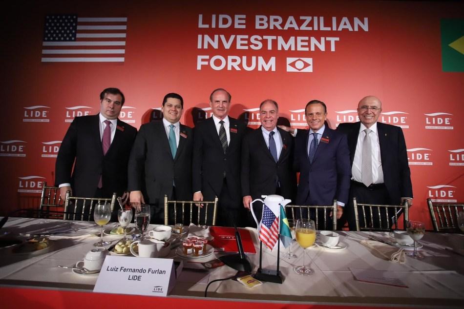 Rodrigo Maia, Davi Alcolumbre, Luiz Fernando Furlan, Fernando Bezerra, João Doria e Henrique Meirelles (Crédito: William Volcov) (PRNewsfoto/LIDE)