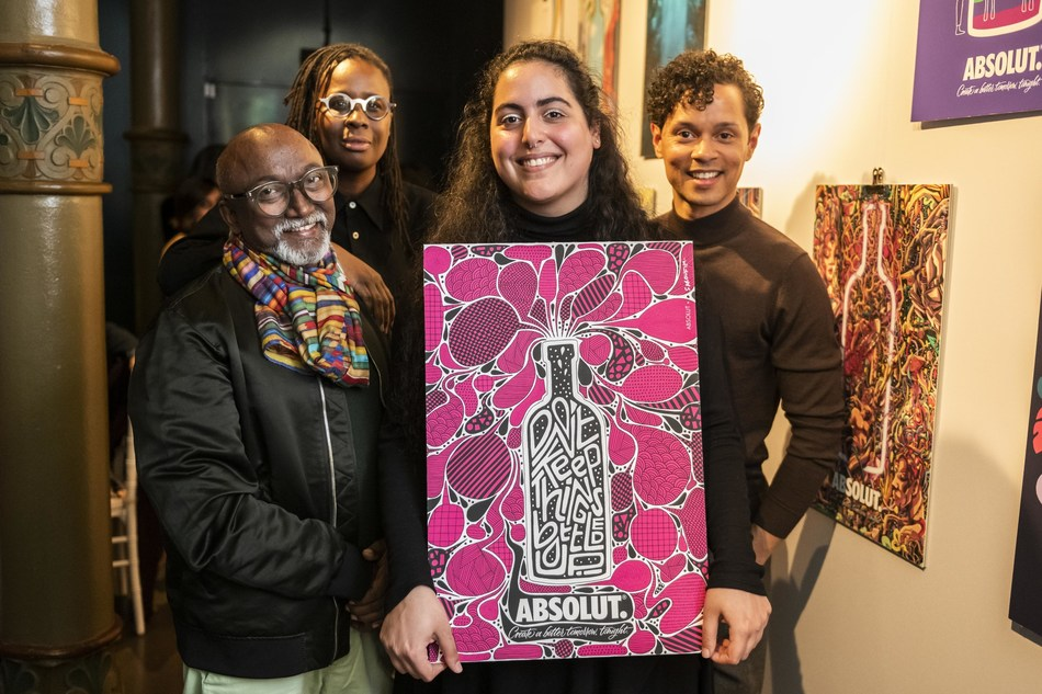 Winner of the Absolut Creative Competition pictured with her artwork and judging panel.  From left to right: Bose Krishnamachari, Mickalene Thomas, Sara Saroufim , Aaron Cezar