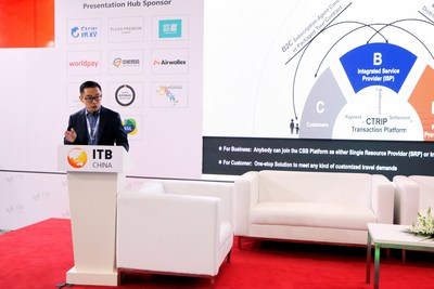 Jonathan Xie, General Manager at Ctrip Customized Travel Business speaks at ITB China