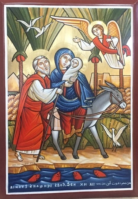 Official Global Coptic Day Icon -- The Entry of Our Lord Jesus Christ and the Holy Family Into Egypt, created by iconographer Osama Moris