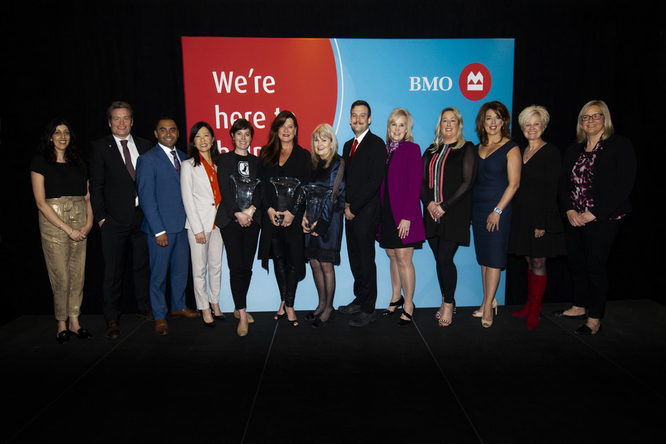 Mary Manhas, BMO Financial Group; Sean Bjorklund, BMO Financial Group; Hussein Bhanji, BMO Financial Group; Michell Kaziuk, BMO Financial Group; Heather Stewart – Expansion & Growth in Business Honouree; Steffany Hanlen-Francey – Trailblazers & Innovators Honouree; Diane Buchanan – Community & Charitable Giving Honouree; Bryan Bachman, BMO Financial Group; Marion Marler, BMO Financial Group; Lori Pecorilli; Dawn Harsch; Glenise Harvey; Vanessa Laroque, BMO Financial Group. (CNW Group/BMO Financial Group)