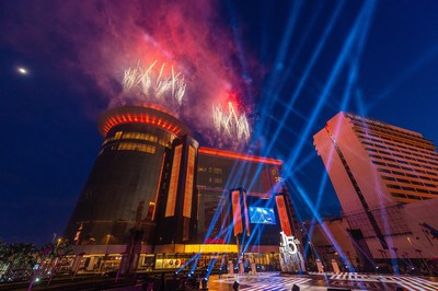 """A remix of The No. 1 hit single """"This Is Me"""" from the award-winning film """"The Greatest Showman"""" plays as a pyrotechnic display helps celebrate the 15th anniversary of Sands Macao at a ceremony Thursday at the hotel and entertainment complex."""