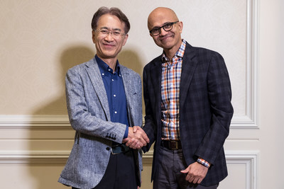 Kenichiro Yoshida, President and CEO, Sony Corporation (Left) and Satya Nadella, CEO, Microsoft