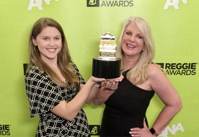 Pictured left to right: Rachel Kerr, Dairy Farmers of Wisconsin, Director of Events and PR and Suzanne Fanning, Dairy Farmers of Wisconsin Senior Vice President and Wisconsin Cheese Chief Marketing Officer accept the Gold REGGIE Award on behalf of Dairy Farmers of Wisconsin.