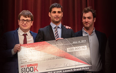 The Acoustic Wells team beat out seven finalists to win the Robert P. Goldberg $100,000 grand prize at the MIT $100K Entrepreneurship Launch Finale. Holding the check are, from left, Charles-Henri Clerget, Sebastien Mannai, and Louis Creteur.