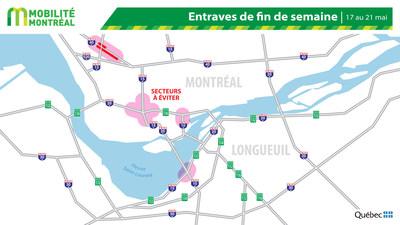 Carte générale des entraves, fin de semaine du 17 mai (Groupe CNW/Ministère des Transports)
