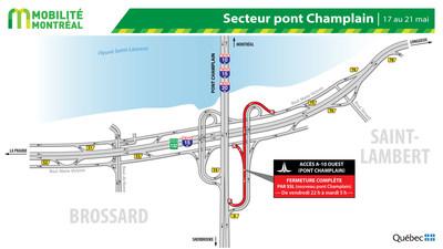 Fermetures secteur pont Champlain à Brossard, fin de semaine du 17 mai (Groupe CNW/Ministère des Transports)