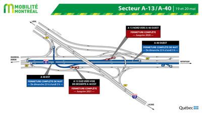 Échangeur 13-40 , fermeture de nuit dimanche 19 mai (Groupe CNW/Ministère des Transports)