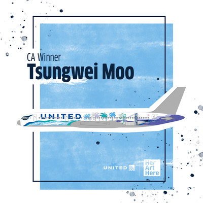 Tsungwei Moo's winning design to represent the state of California for United Airline's Her Art Here contest