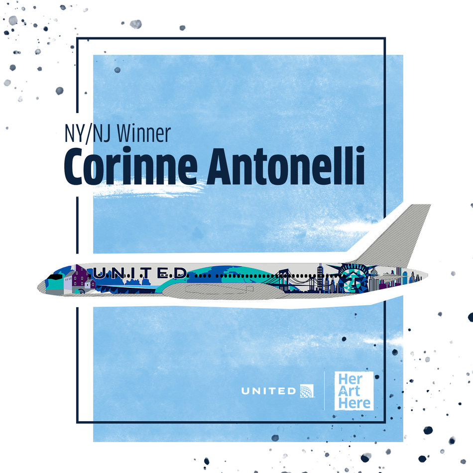Corinne Antonelli's winning design to represent the New York/New Jersey area for United Airline's Her Art Here contest