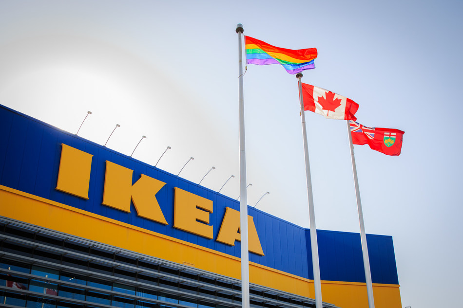 For the second year, IKEA Canada co-workers raise the pride flag for IDAHOT (International Day against Homophobia Transphobia and Biphobia) (CNW Group/IKEA Canada)