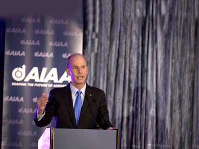The Boeing Company's Chairman, president and CEO Dennis Muilenburg announces that Boeing is donating $1 million to support the AIAA Foundation and its Match A Million Campaign. The announcement was made at the AIAA Fellows Dinner 14 May in Arlington, Virginia.