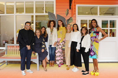 Celebrating All Things India at Bicester Village. Pictured from left, Shivam Punjya (Behno), Desirée Bolllier, Amandip Uppal, Pippa Small, Jodie Kidd, Ruth Ganesh (Elephant Family), Spandana Gopal, Sujata Assomull, Fernanda Marques. (PRNewsfoto/Bicester Village)