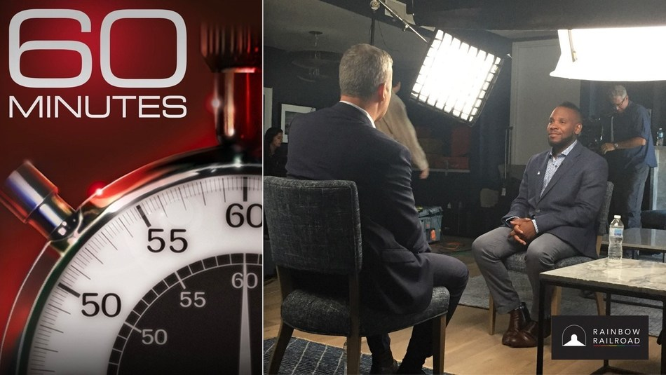 Rainbow Railroad Executive Director Kimahli Powell being interviewed by 60 Minutes correspondent Jon Wertheim. Rainbow Railroad will be profiled on the next broadcast this Sunday May 19 at 7pm Eastern. (CNW Group/Rainbow Railroad)