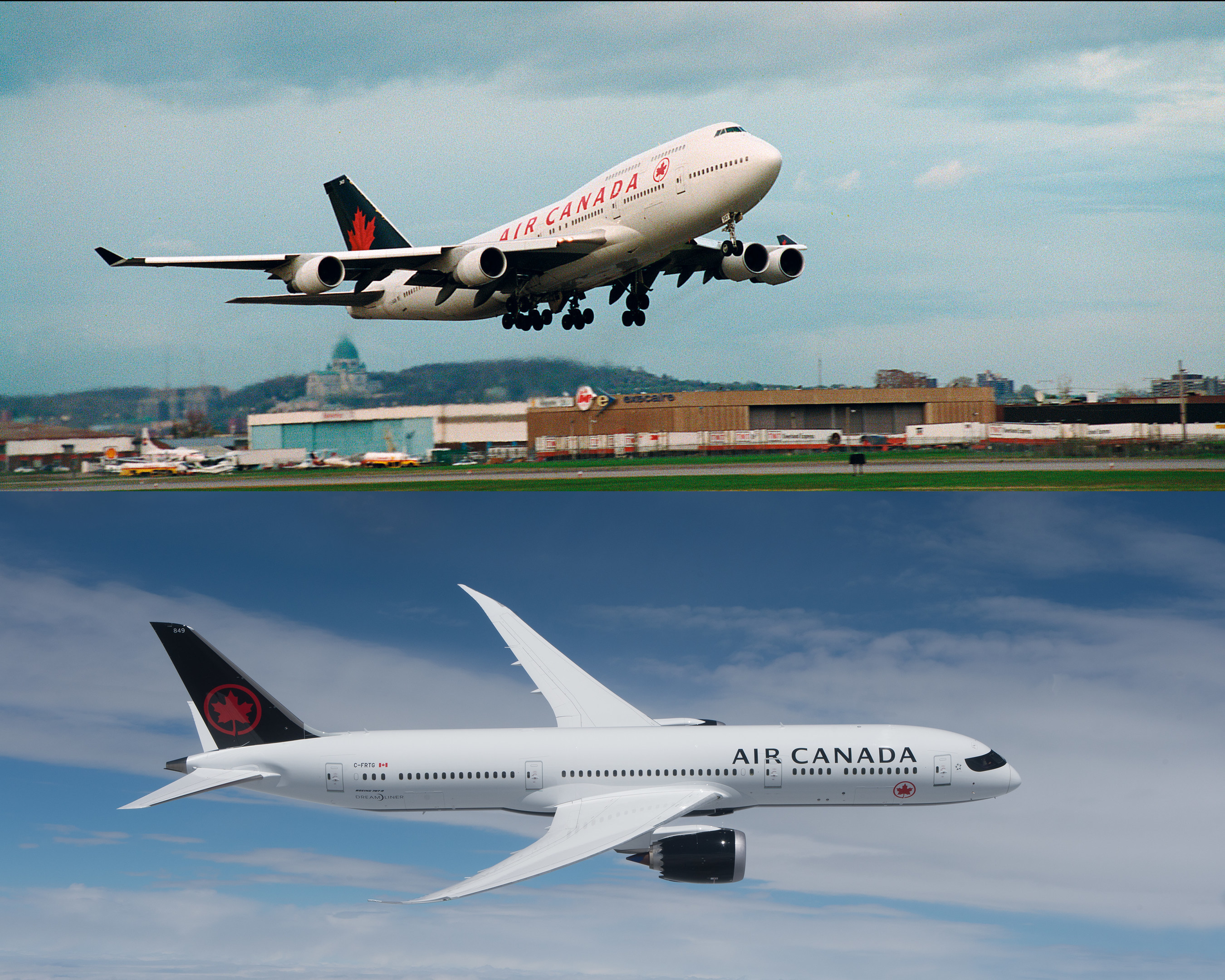 Air Canada launched service to Seoul in 1994 with the Boeing 747-Combi (top), a route that continues today with Boeing 777s and Boeing 787 Dreamliners (bottom). (CNW Group/Air Canada)