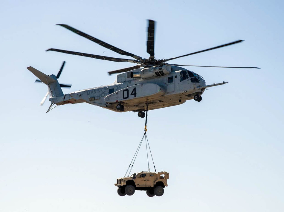 The CH-53K is a modern, marinized, fly-by-wire aircraft that can move more cargo, farther and at longer distances that any other aircraft in production. For example, the CH-53K can lift an up-armored 22,600 lb. JLTV and carry it 110 nautical miles, in high and hot conditions and still have capacity for an additional 4,400 pounds of payload. There is no other helicopter that comes close to the performance of the CH-53K or that can meet Marine Corps requirements.  Photo courtesy U.S. Navy.
