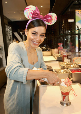 Actor Vanessa Hudgens enjoys a CrazyShake at the opening celebration of Black Tap Craft Burgers & Shakes, May 18, 2019, in the Downtown Disney District at Disneyland Resort in Anaheim, Calif. (Photo by Jesse Grant/Getty Images for Black Tap Craft Burgers and Shakes)