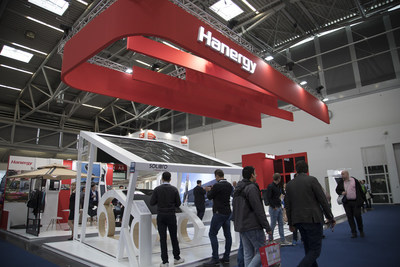 Hanergy showcases its thin-film solar products and solutions in the exhibition.