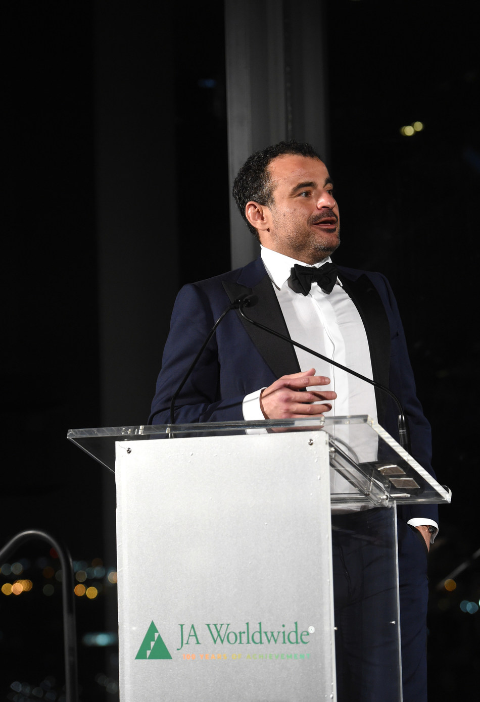 Omar K. Alghanim delivers remarks at the JA Worldwide Centennial Gala, May 2, 2019.