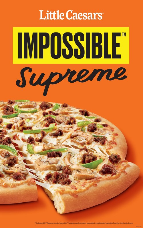 Little Caesars, the pizza chain celebrated for meat-centric products including a pizza wrapped in three feet of bacon, has teamed up with Impossible Foods to offer a plant-based sausage on the new Impossible Supreme pizza. Little Caesars is the first national pizza chain to offer plant-based meat on its signature pies. Impossible Supreme Pizza is now available exclusively in three Little Caesars test markets in Florida, New Mexico and Washington state.
