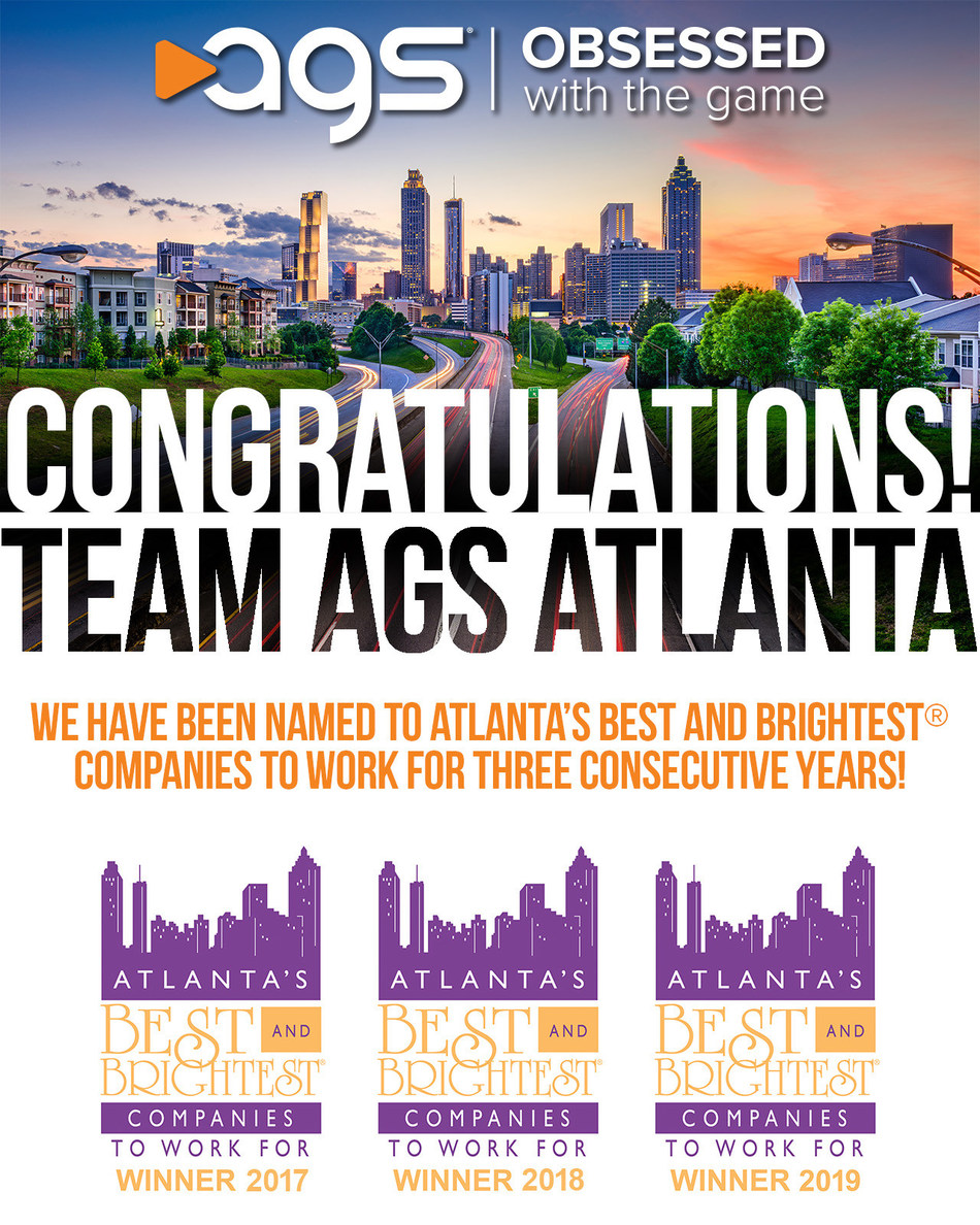 For the third consecutive year, AGS was named among 'Atlanta's Best and Brightest Companies to Work For.' The global gaming equipment supplier is based in Las Vegas, with two R&D campuses in Metro Atlanta.