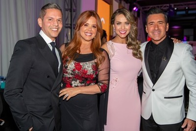 Television personalities Rodner Figueroa, Maria Celeste Arraras, Jessica Carillo and Jorge Bernal stop for a photo during the 17th FedEx/St. Jude Angels & Stars Miami Gala
