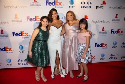 Univision's Pamela Silva with St. Jude patients Victoria, Mariangeles and Tina
