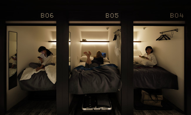 High-tech SmartPods, controlled through an in-house app that centralizes all the functions of each guests' sleeping arrangements.