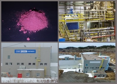 Image 1. Top left to right, cobalt sulfate produced using the First Cobalt Refinery flowsheet; current autoclave circuit. Bottom left to right, external and areal images of the facility. (CNW Group/First Cobalt Corp.)