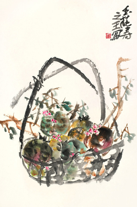 Dr. Yuhua Shouzhi Wang, Pomegranates in a Basket Portrayed in a Scholarly Spirit
