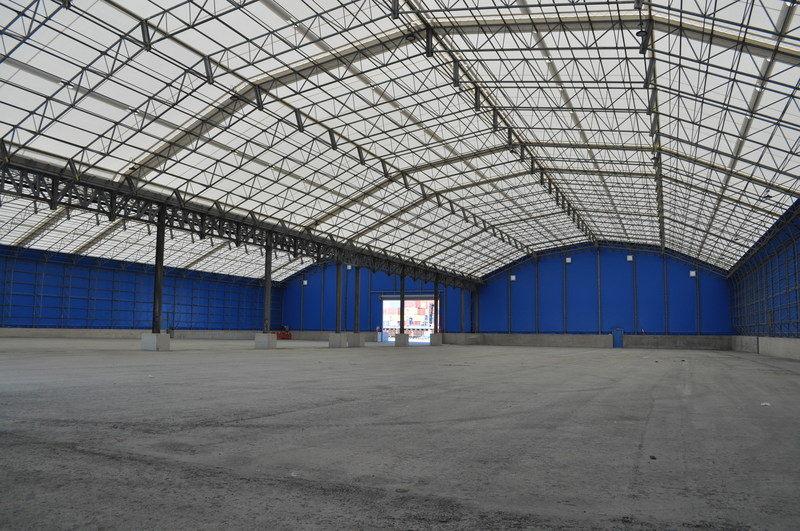 Internal view of 30-year-old Rubb twin span warehouse adapted and relocated at Port of Tilbury