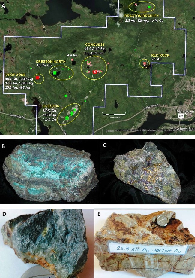 A) Map Showing the 5 gold and 2 copper occurrences at Root & Cellar. B) Malachite and copper sulphides from Creston North. C) Bornite and Chalcopyrite from Creston. D) Visible gold from Conquest Zone. E) High grade gold and silver from Drop Zone. (CNW Group/Northern Shield Resources Inc.)