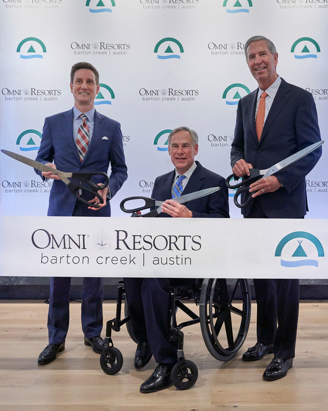 Mr. Robert Rowling, owner and chairman, TRT Holdings, Inc., Texas Governor, Greg Abbott, and Todd Raessler, general manager, cut the ceremonial ribbon today, Tuesday, May 21, after the grand reopening of the newly transformed Omni Barton Creek Resort & Spa