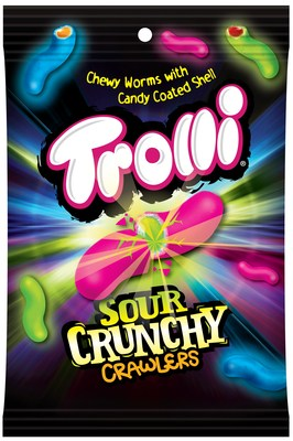 Sour Brite Crunchy Crawlers is Trolli's latest innovation and features a dual-textural spin on Trolli's classic sour gummy worm that delivers a thin, crunchy shell and a chewy, fruity center. It will be available in December 2019.