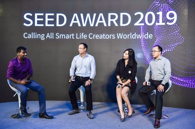 Xu Zhenbin, K.K.Ng and Jerry Luo (from right to left) speak at the Panel Discussion in the Seed Award 2019 opening ceremony