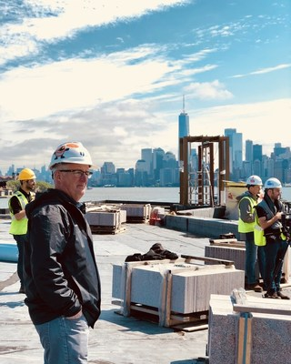 Doug Phelps, President of Phelps Construction Group looks out over Liberty Island during construction of the Statue of Liberty Museum. Phelps Construction Group of Boonton, NJ celebrated the completion of the Statue of Liberty Museum on May 16, 2019.
