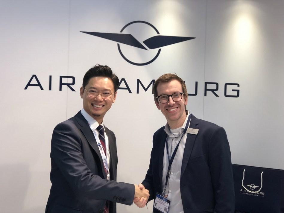 Ringo Fan, Managing Director of APERTUS Aviation and NINETEEN O3 Aviation; David Bergold, Vice President Sales of Air Hamburg